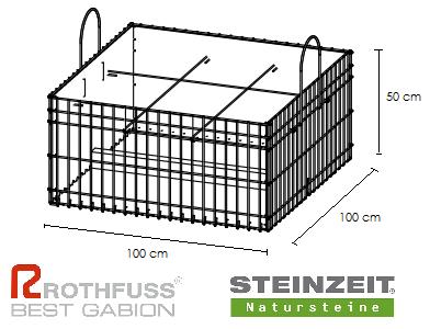 TSK Steinkorb 100/100/50 cm Füllung Kalkstein Beige Bunt