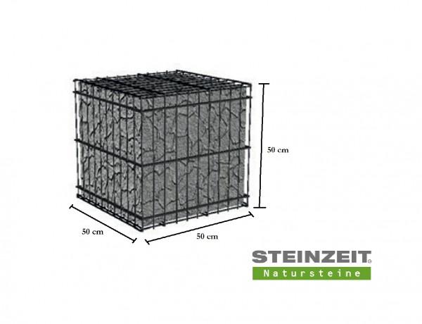 Rawe Steinkorb 50/50/50 cm Füllung Kalkstein Beige Bunt