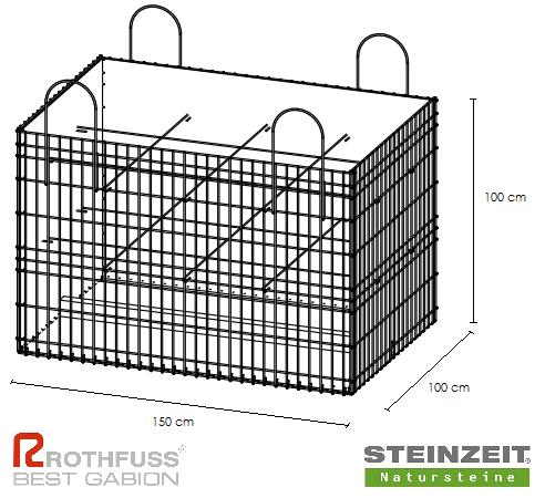 TSK Steinkorb 150/100/100 cm Füllung Kalkstein Beige Bunt