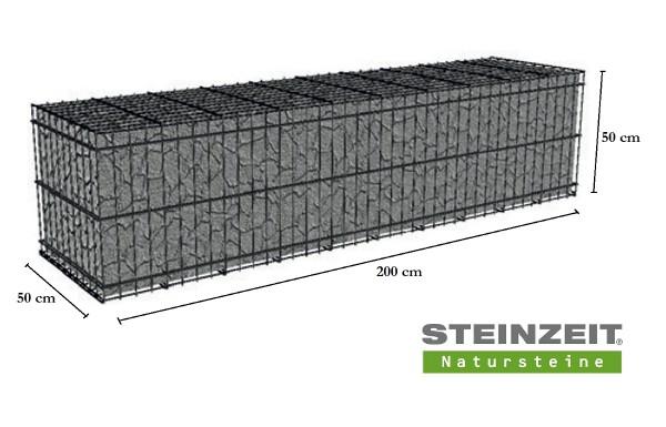 Rawe Steinkorb 200/50/50 cm (LxBxH) Füllung Kalkstein Beige Bunt