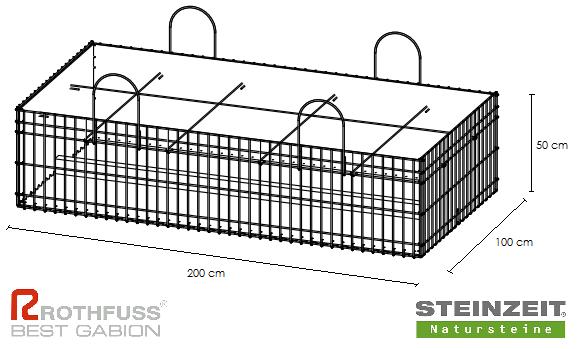 TSK Steinkorb 200/100/50 cm Füllung Kalkstein Beige Bunt