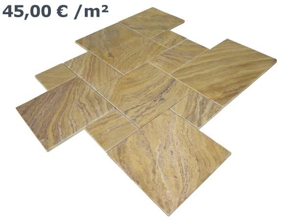 Travertin Fliesen Gelb Römischer Verband (VE1,5 m²)