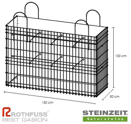 TSK Steinkorb 150/50/100 cm Füllung Kalkstein Beige Bunt