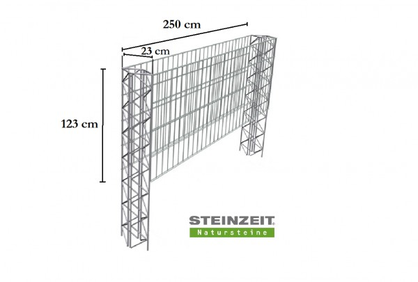 Steinzeit Zaungabione Basiselement Höhe 123 cm