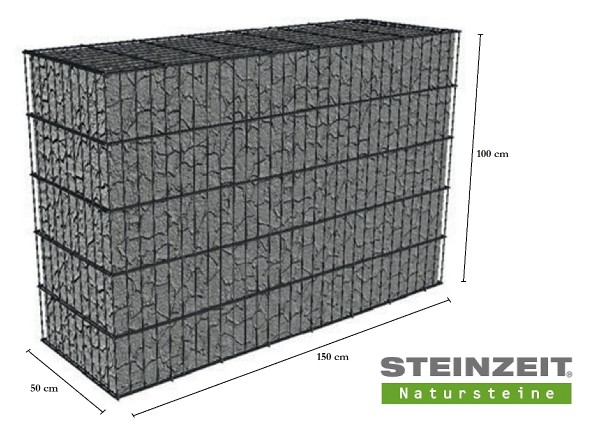 Rawe Steinkorb 150/50/100 cm (LxBxH) Füllung Kalkstein Beige Bunt