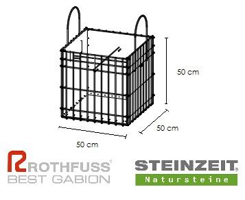 TSK Steinkorb 50/50/50 cm Füllung Kalkstein Beige Bunt