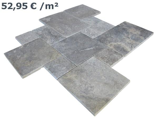 Travertin Fliesen Silver Römischer Verband (VE1,5 m²)