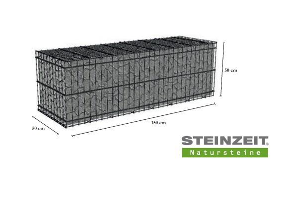 Rawe Steinkorb 150/50/50 cm (LxBxH) Füllung Kalkstein Beige Bunt