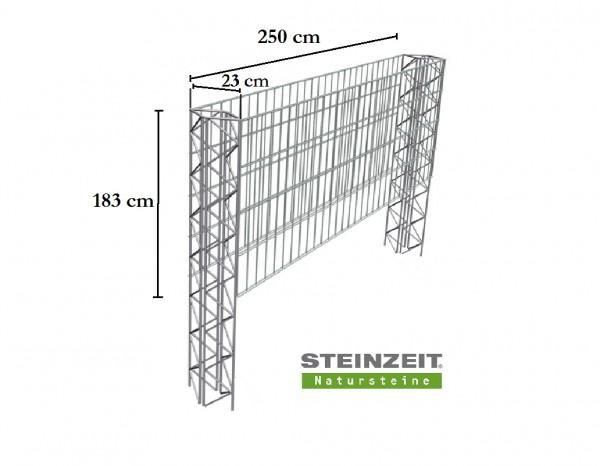Steinzeit Zaungabione Basiselement Höhe 183 cm