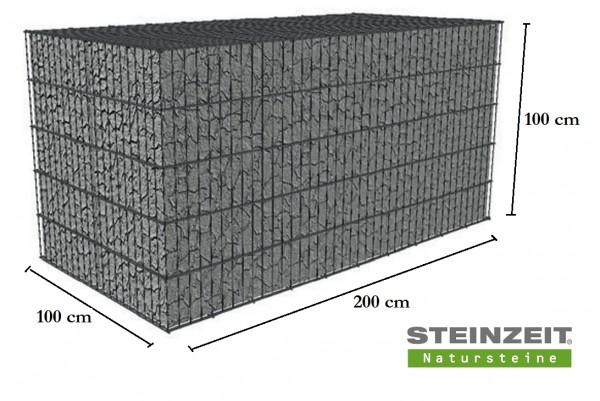 Rawe Steinkorb 200/100/100 cm (LxBxH) Füllung Kalkstein Beige Bunt