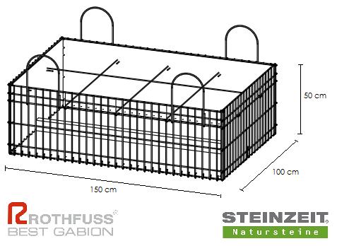 TSK Steinkorb 150/100/50 cm Füllung Kalkstein Beige Bunt