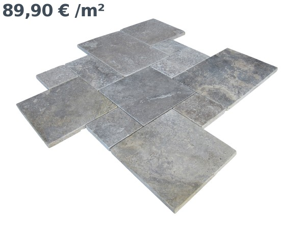 Travertin Silber Römischer Verband (VE1,5 m²)