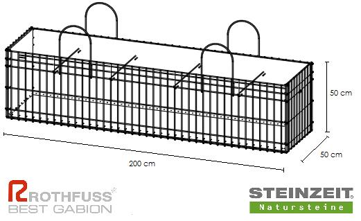 TSK Steinkorb 200/50/50 cm Füllung Kalkstein Beige Bunt