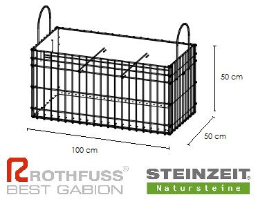 TSK Steinkorb 100/50/50 cm Füllung Kalkstein Beige Bunt
