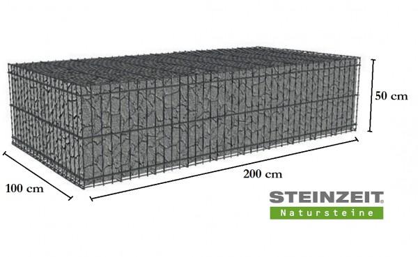 Rawe Steinkorb 200/100/50 cm (LxBxH) Füllung Kalkstein Beige Bunt