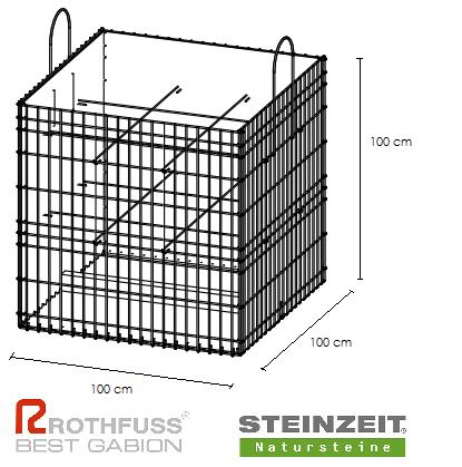 TSK Steinkorb 100/100/100 cm Füllung Kalkstein Beige Bunt