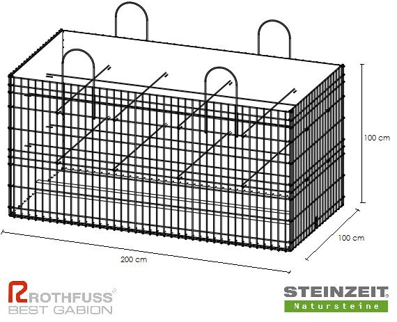 TSK Steinkorb 200/100/100 cm Füllung Kalkstein Beige Bunt