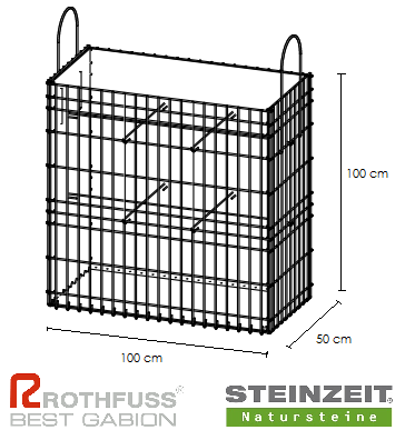 TSK Steinkorb 100/50/100 cm Füllung Kalkstein Beige Bunt