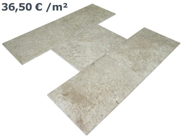 Travertin Fliesen Beige 61 / 40,6 / 1,5 cm