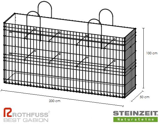 TSK Steinkorb 200/50/100 cm Füllung Kalkstein Beige Bunt